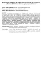 IMPLANTAÇÃO DE SISTEMA DE GERENCIAMENTO INTEGRADO DE INFORMAÇÃO NA REDE DE BIBLIOTECAS FIOCRUZ: AGREGAR PARA FORTALECER