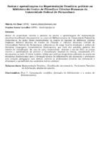 ENSINO E APRENDIZAGEM EM REPRESENTAÇÃO TEMÁTICA: PRÁTICAS NA BIBLIOTECA DO CENTRO DE FILOSOFIA E CIÊNCIAS HUMANAS DA UNIVERSIDADE FEDERAL DE PERNAMBUCO