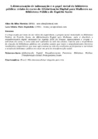 A disseminação de informação e o papel social da biblioteca pública: relato do curso de Alfabetização Digital para Mulheres na Biblioteca Pública do Espírito Santo