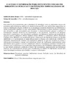 O ACESSO À INFORMAÇÃO PARA DEFICIENTES VISUAIS EM BIBLIOTECAS PÚBLICAS E INSTITUIÇÕES ESPECIALIZADAS DE ARACAJU