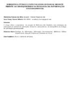 BIBLIOTECA PÚBLICA ESPECIALIZADA ESTADUAL RESISTE FRENTE AO DESEQUILÍBRIO NA ECOLOGIA DA INFORMAÇÃO GOVERNAMENTAL