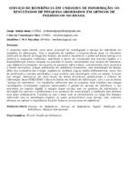 SERVIÇO DE REFERÊNCIA EM UNIDADES DE INFORMAÇÃO: OS RESULTADOS DE PESQUISA ABORDADOS EM ARTIGOS DE PERIÓDICOS NO BRASIL