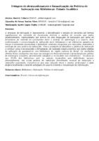 Estágios de desenvolvimento e formalização da Política de Indexação em Bibliotecas: Estudo Analítico