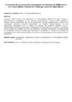 O controle do processo de catalogação no Sistema de Bibliotecas da Universidade Federal de Goiás por meio de indicadores