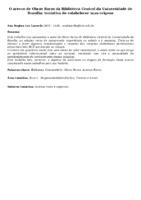 O acervo de Obras Raras da Biblioteca Central da Universidade de Brasília: tentativa de estabelecer suas origens. (Pôster)