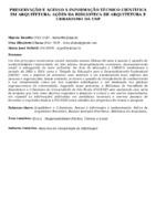 Preservação e acesso à informação técnico-científica em arquitetura: ações da Biblioteca de Arquitetura e Urbanismo da USP. (Pôster)