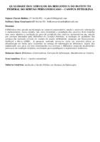 Qualidade dos serviços da Biblioteca do Instituto Federal do Sertão Pernambucano – Campus Petrolina. (Pôster)