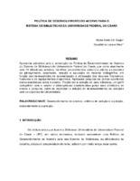 Política de Desenvolvimento de Acervo para o Sistema de Bibliotecas da Universidade Federal do Ceará.