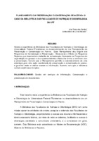 Planejamento da preservação e conservação de acervo: o caso da Biblioteca das Faculdades de Nutrição e Odontologia da UFF.