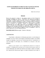 Gestão da informação na Biblioteca Nilo Peçanha do CEFET/PB: proposta de criação de uma biblioteca digital.