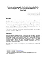 Projeto de adequação das instalações e melhoria das condições de atendimento da Biblioteca EA/UFMG.