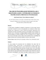 Relações de transversatilidade professor-aluno e bibliotecário-usuário: contribuições da atividade do tirocínio docente orientado da pós-graduação.