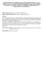 Práticas educativas bibliotecárias de formação de leitores: uma análise inicial  de projetos da Rede Municipal de Educação de Belo Horizonte a partir de  modelos de trabalho colaborativo entre bibliotecários e professores