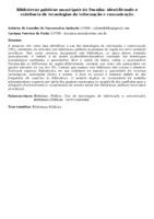 Bibliotecas públicas municipais da Paraíba: identificando a existência de tecnologias da informação e comunicação