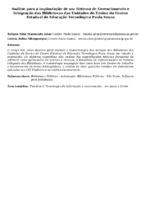 Análise para a implantação de um Sistema de Gerenciamento e Integração das Bibliotecas das Unidades de Ensino do Centro Estadual de Educação Tecnológica Paula Souza