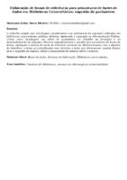 Elaboração de termo de referência para assinaturas de bases de dados em Bibliotecas Universitárias: sugestão de parâmetros