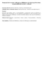 Promoção de eventos culturais na Biblioteca da Embrapa Florestas:  responsabilidade social e cultural