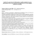 Análise do processo de elaboração e implementação do novo Regimento Interno do Sistema de Bibliotecas da Universidade Federal da Paraíba